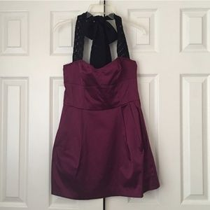 H&M Purple Dress with Black Lace Halter Ties